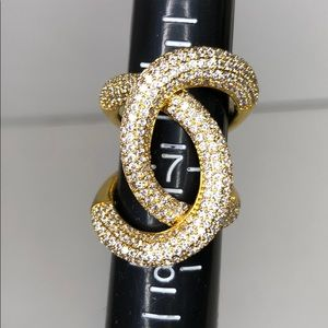 Costume Faux Gold Crystal Ring (7)
